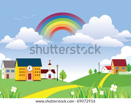 Vector Landscape with rainbow