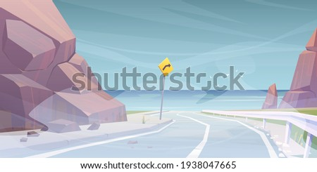 vector landscape with road to