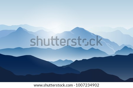 Vector landscape with silhouettes of blue mountains with mist and cold sunlight