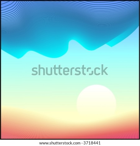 vector landscape with sun