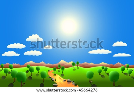 vector landscape with sun and sky