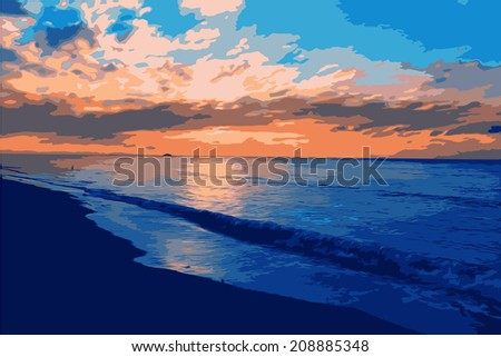 vector landscape with sunset on