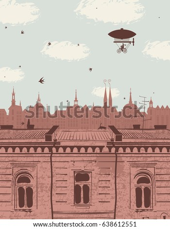 vector landscape with the roofs