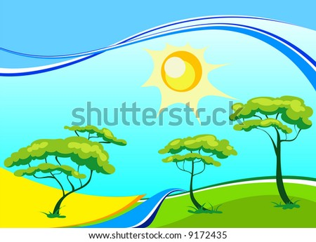 Vector landscape with trees, sun, small river in bright paints