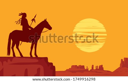 Vector landscape with wild American prairies and silhouette of a lone Indian on horseback with spear at orange sunset. Decorative illustration on the theme of the Wild West. Western vintage background