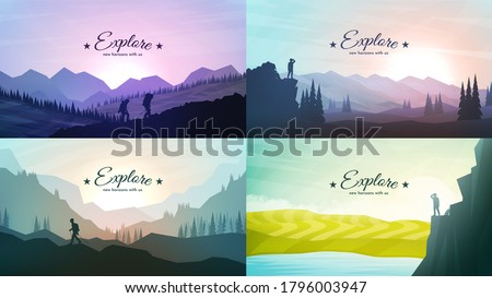 Vector landscapes set. Travel concept of discovering, exploring and observing nature. Hiking. Adventure tourism. The guy watches nature, climbing to the top, friends going hike