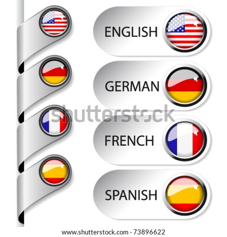 Vector language pointers with flag for web - set 1/5 - England, Germany, France, Spain - stock vector
