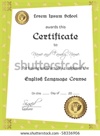 Vector: Language School Certificate - stock vector