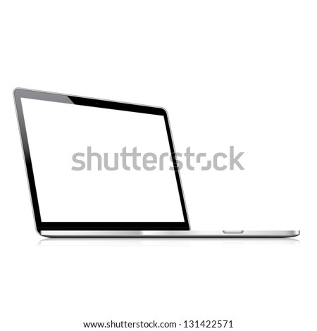 Vector laptop isolated on white with empty screen
