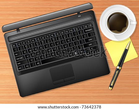 Vector laptop on the desk with coffee cup and pen. Top view