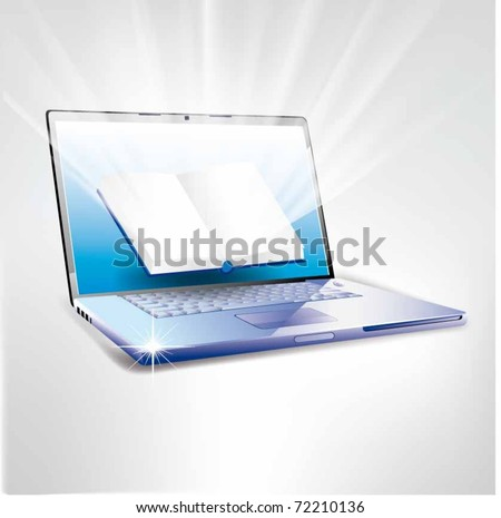 Vector laptop with a book on screen