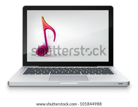 Vector Laptop with Note Isolated on White Background. Vector EPS 10.