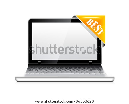 Vector laptop with sticker icon