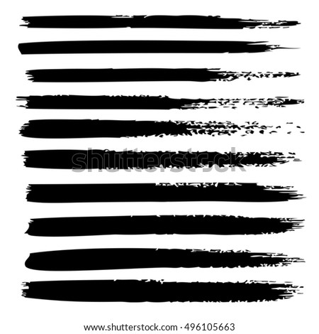 Vector large collection or set of artistic black paint hand made creative brush strokes isolated on white background, metaphor to art, grunge or grungy, sketch, education or abstract design #496105663