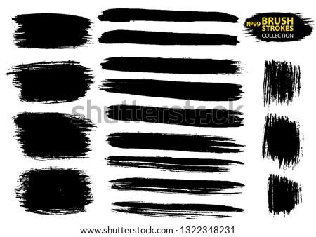 Vector large set different grunge brush strokes. Large set different grunge brush strokes.