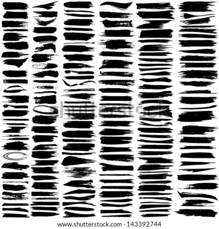 Vector large set of 180 different grunge brush strokes.