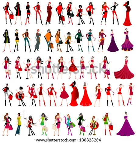 Vector large set of elegant shopping and fashion girls