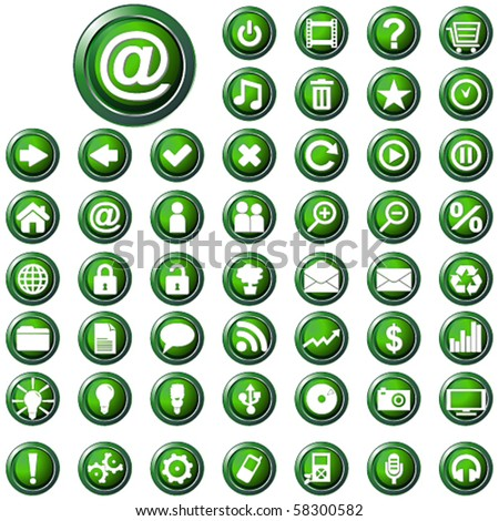 Vector large set of glossy green web buttons