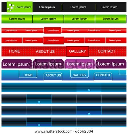Vector large set of web navigation bars