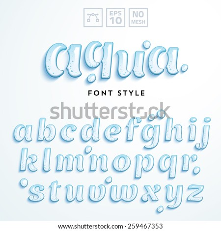 Vector Latin Alphabet Made Of Clear Water Font Style