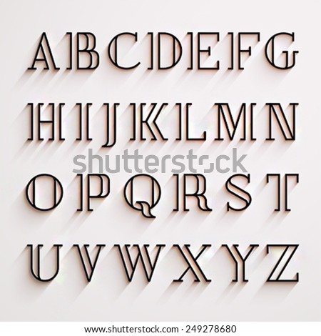 Vector latin alphabet with shadow effect