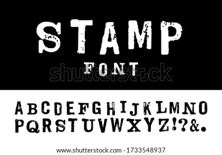 Vector latin stamp font. Vector stamp abc with grunge texture. Vector grunge stamp letters isolated. Font in retro stamp style. Lettering and custom typography for posters, invitations, cards