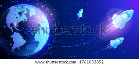 Vector. Launch of the launch vehicle from the spaceport. Satellites and rockets in orbit of planet Earth. Global World Wide Web internet. Technologies and communications. Map of the planet. World map.