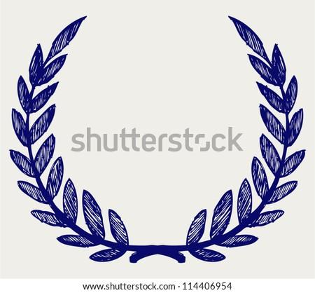 Vector laurel wreath. Doodle style