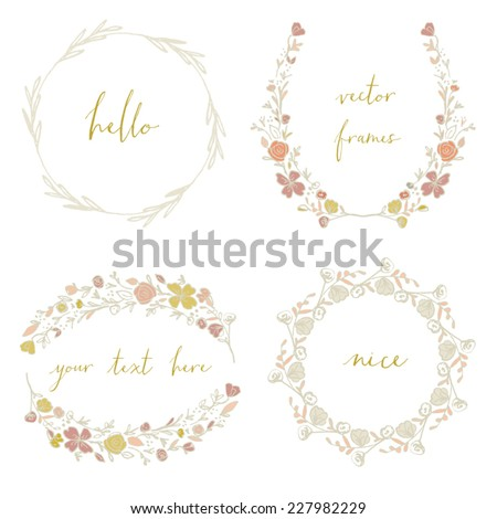 Vector Laurel Wreaths. Collection of Cute Wreath Vector Frames. Perfect For Wedding Frames.
