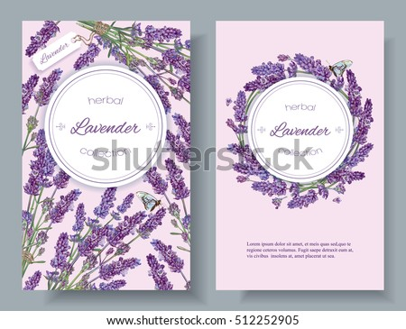 Vector lavender natural cosmetic vertical banners on lilac background. Design for cosmetics, make up, beauty salon, natural and organic products, health care products,aromatherapy. With place for text