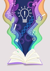 Vector layered paper cut craft style open book with innovation light bulb, dna helix, lab flask, other education and science symbols. Education and science learning concept creative composition.