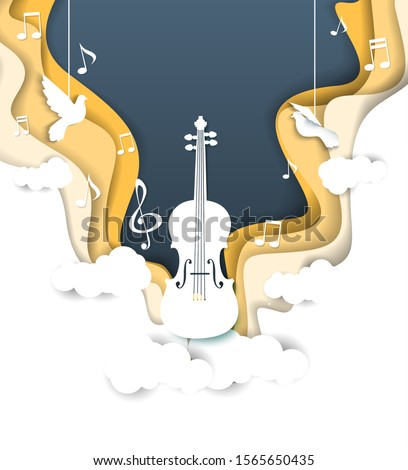 Vector layered paper cut style music background with violin musical instrument, music notes, treble clef and doves. Musical poster design template with copy space for classical music concert.