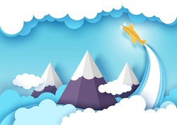 Vector layered paper cut style plane flying over snowy mountain peaks. Origami paper art sky, fluffy clouds. Air flight, adventure, traveling by plane concept for web banner, website page etc.