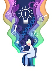 Vector layered paper cut style science learning composition. Science education lab, innovation light bulb, dna research, scientific experiment concept.