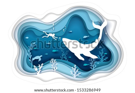 Vector layered paper cut style underwater sea cave with coral reef fish seaweed, aquatic turtle, huge whale and diver silhouettes. Scuba diving concept for web banner, website page etc.