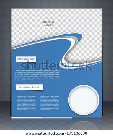 Vector layout flyer, magazine cover, or corporate design template advertisement, blue color.