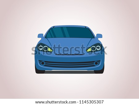Vector layout of a blue sports car. Hyundai.