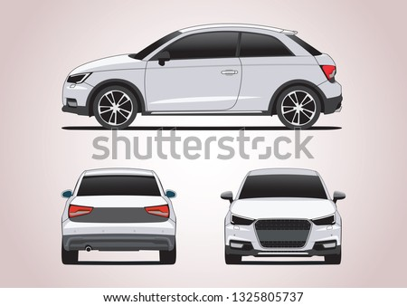 vector layout of a hatchback with three sides. Audi A1.