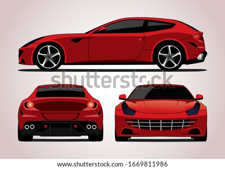 vector layout of a red sports station wagon, view from three sides. Gran Turismo Ferrari FF. Foto stock ©