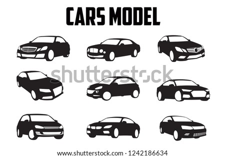 vector layout of a set of car models