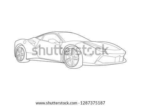 vector layout of a sports car drawn with contour lines. Super coupe Ferrari 488 GTB.