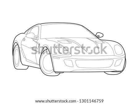 vector layout of a sports car. Суперкар Ferrari 599 GTB Fiorano.