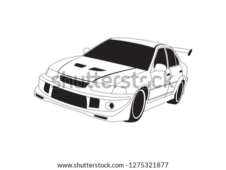 vector layout of a sports car