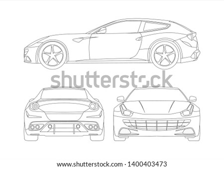 vector layout of contour drawing of a sports car. Gran Turismo Ferrari FF. Foto stock ©