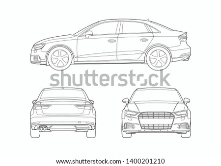 vector layout of contour drawing of German sedan. Audi A3.