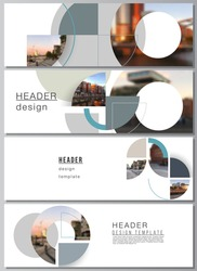 Vector layout of headers, banner design templates for website footer design, horizontal flyer design, website header. Background with abstract circle round banners. Corporate business concept template