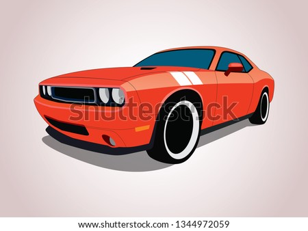 vector layout of muscle car