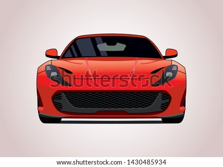 Vector layout of red Italian super car.Front view. Ferrari superfast 812.