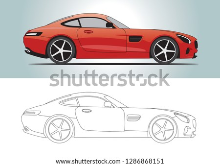vector layout of red sport coupe. Mercedes AMG GT.