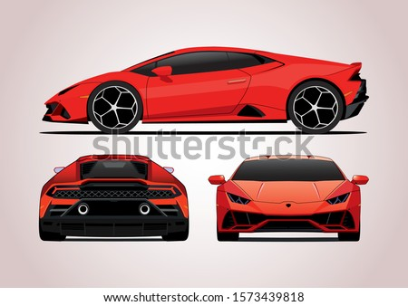 vector layout of red sports car